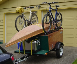 Toto Plywood Project kayak on Explorer Box Gear Hauler